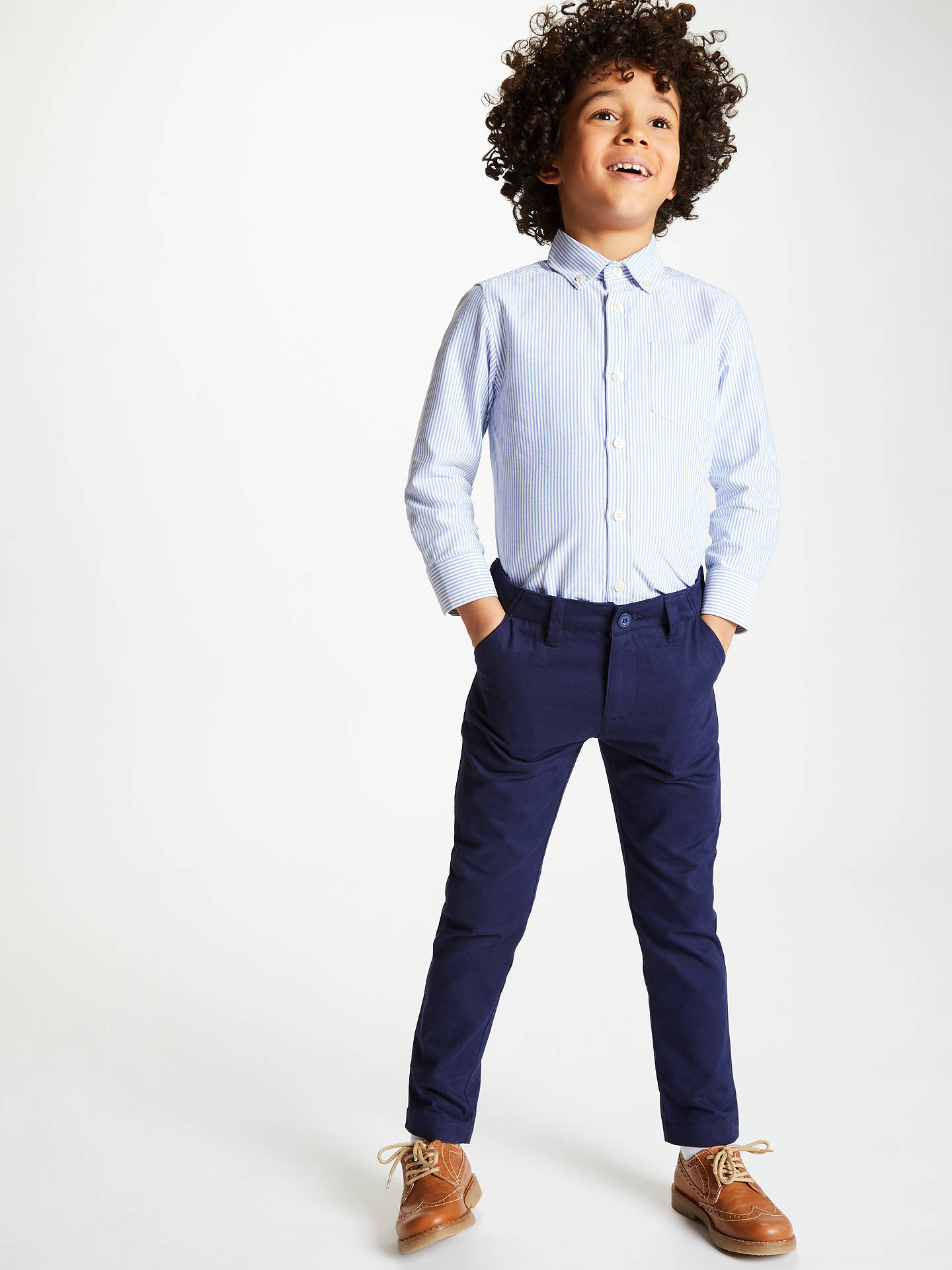 BuyJohn Lewis & Partners Heirloom Collection Boys' Stripe Oxford Shirt, Blue, 2 years Online at johnlewis.com