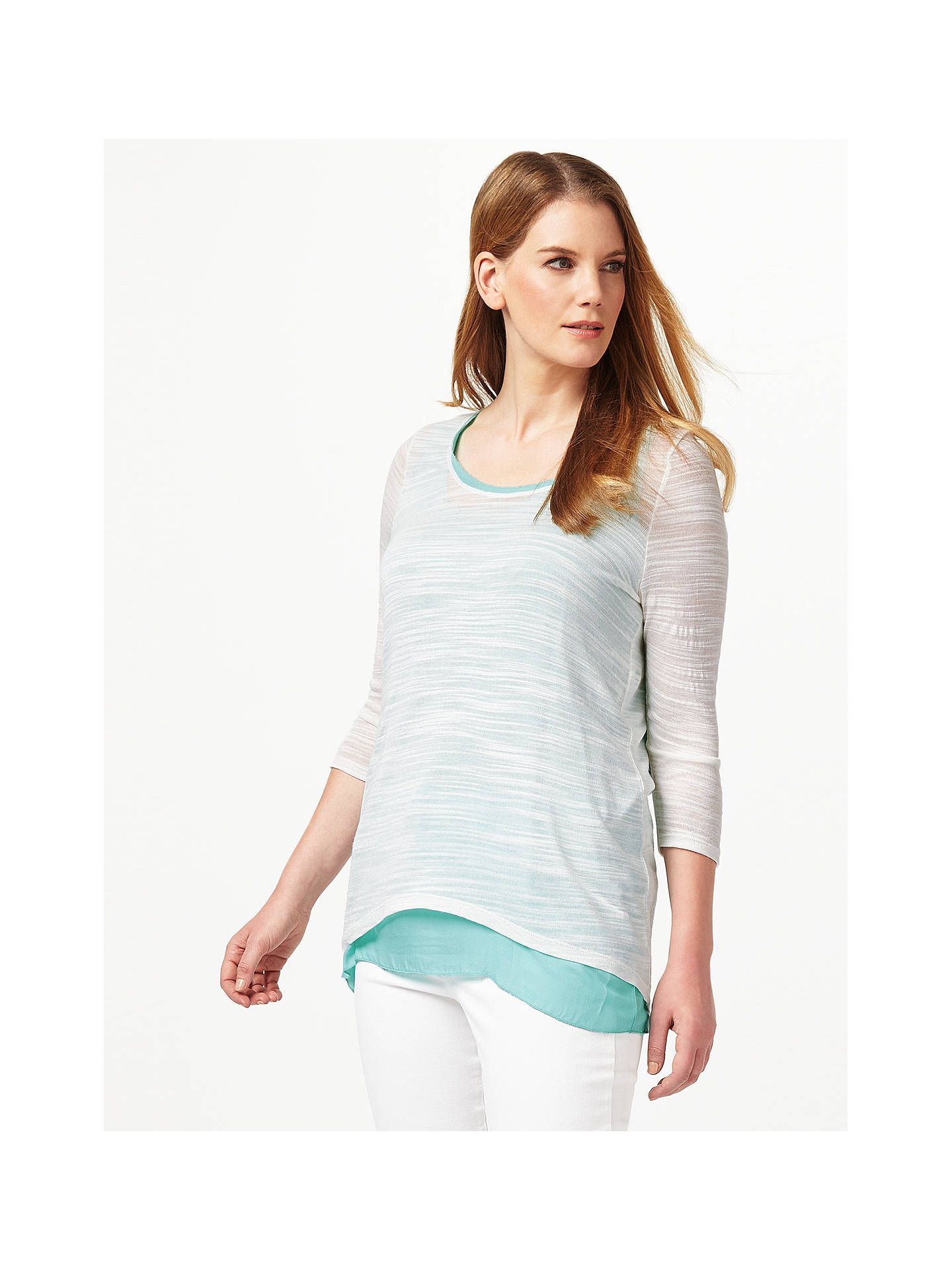 BuyStudio 8 Milly Top, Cream/Aqua, 18 Online at johnlewis.com