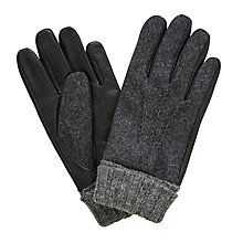 Buy John Lewis Wool Leather Gloves, Black Online at johnlewis.com