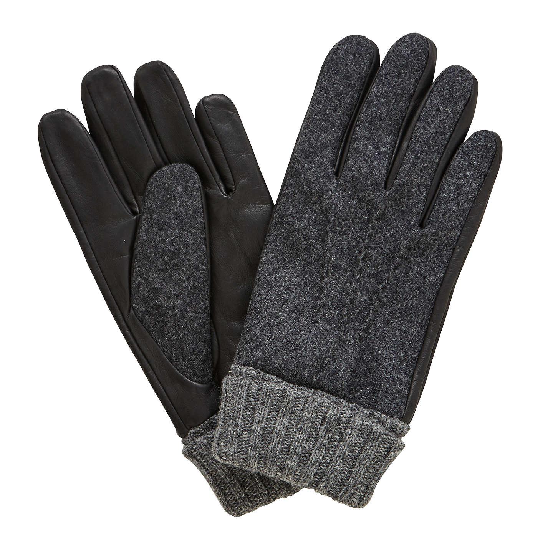 Buyjohn Lewis Wool Leather Gloves, Black, M Online At Johnlewiscom