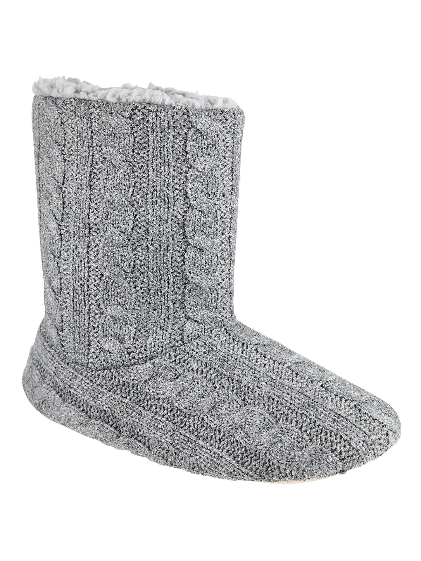 John Lewis Cable Knit Boot Slippers Grey At John Lewis Partners