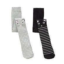 Buy John Lewis Girls' Cat Stripes and Spots Tights, Pack of 2, Multi Online at johnlewis.com