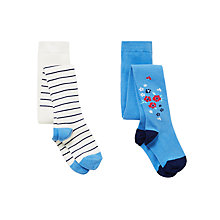 Buy John Lewis Girls' Floral and Stripe Tights, Pack of 2, Multi Online at johnlewis.com