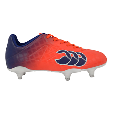 Canterbury of New Zealand Children's Speed Club 6 Stud Rugby Boots, Orange/Blue