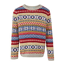 Buy John Lewis Boys' Fair Isle Knitted Jumper, Red/Multi Online at johnlewis.com