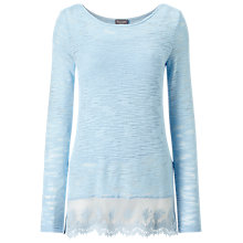 Buy Phase Eight Angela Lace Hem Top, Pale Blue Online at johnlewis.com