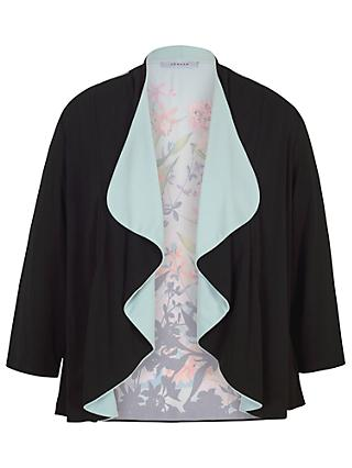 Chesca Border Floral Jersey Shrug, Black