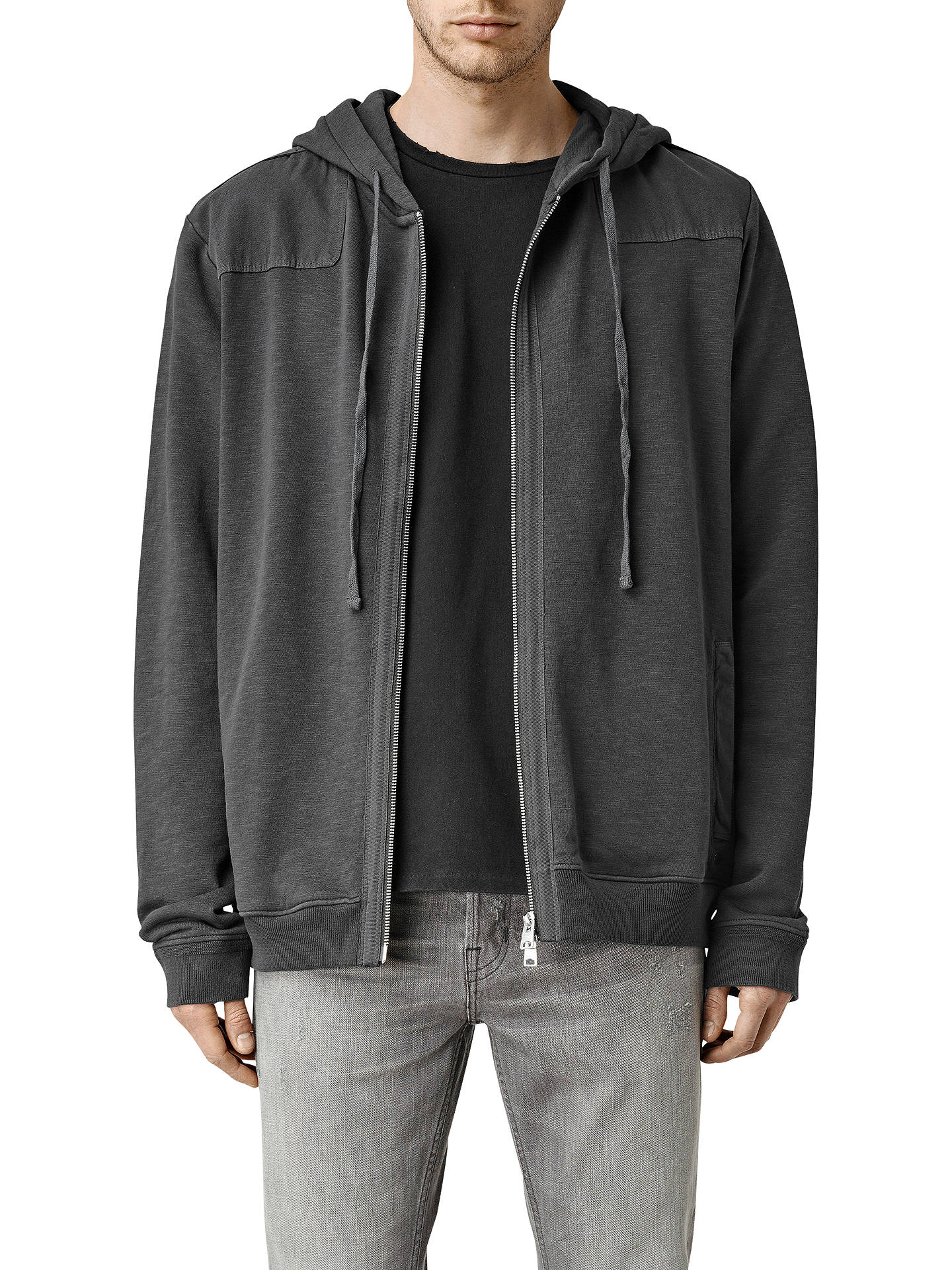7d7c0dd6 Buy AllSaints Drewest Full Zip Hoodie, Washed Black, XS Online at  johnlewis.com ...