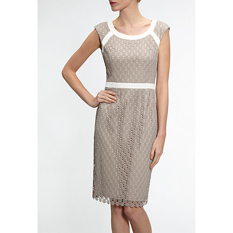 Buy Gina Bacconi Crochet Floral Guipure Dress, Summer Taupe Online at johnlewis.com