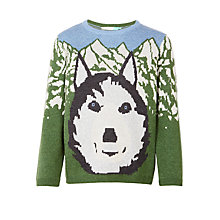 Buy John Lewis Boys' Wolf Intarsia Knitted Jumper, Green/Multi Online at johnlewis.com
