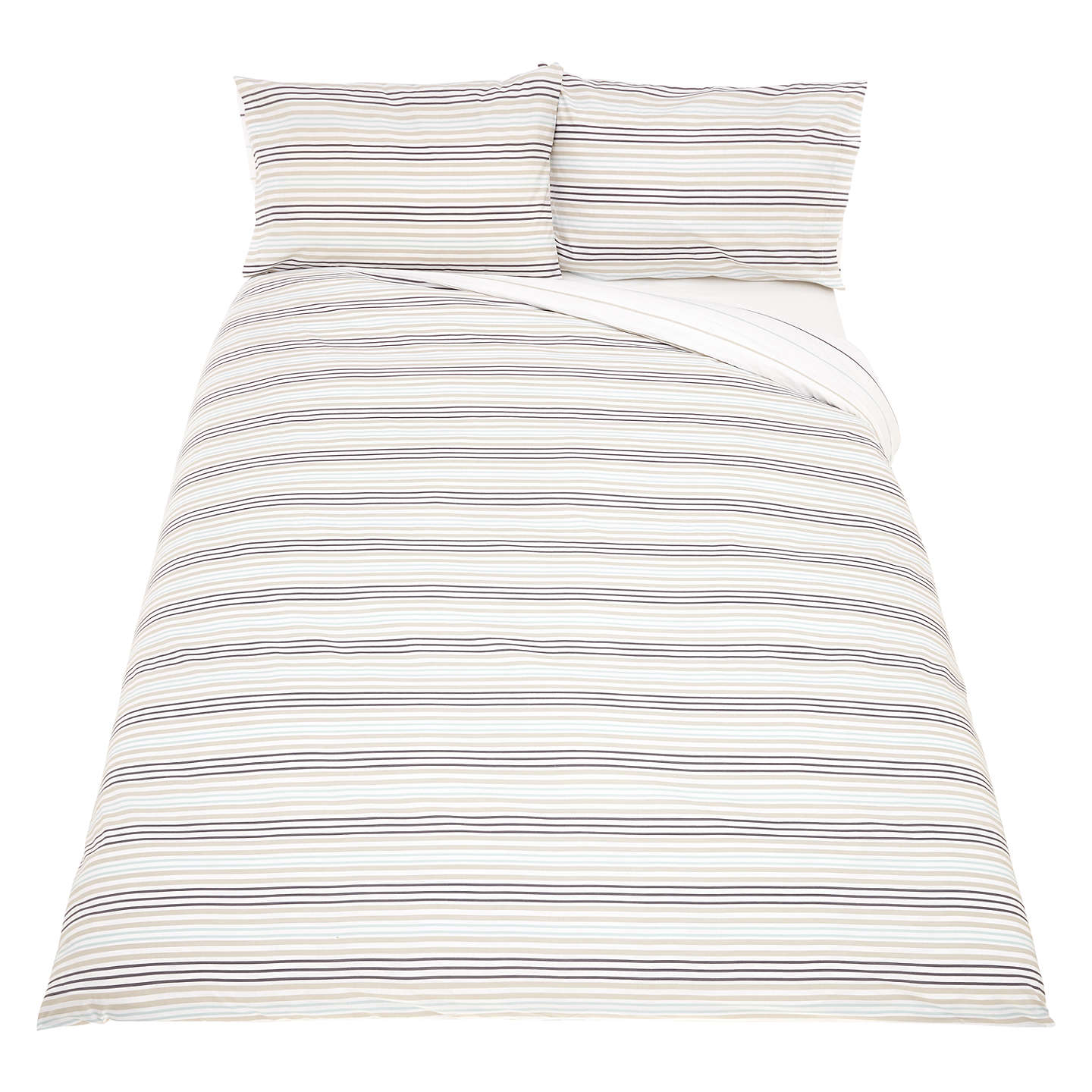BuyJohn Lewis The Basics Polycotton Stripes Duvet Cover and Pillowcase Set, Single, Duck Egg/Steel Online at johnlewis.com