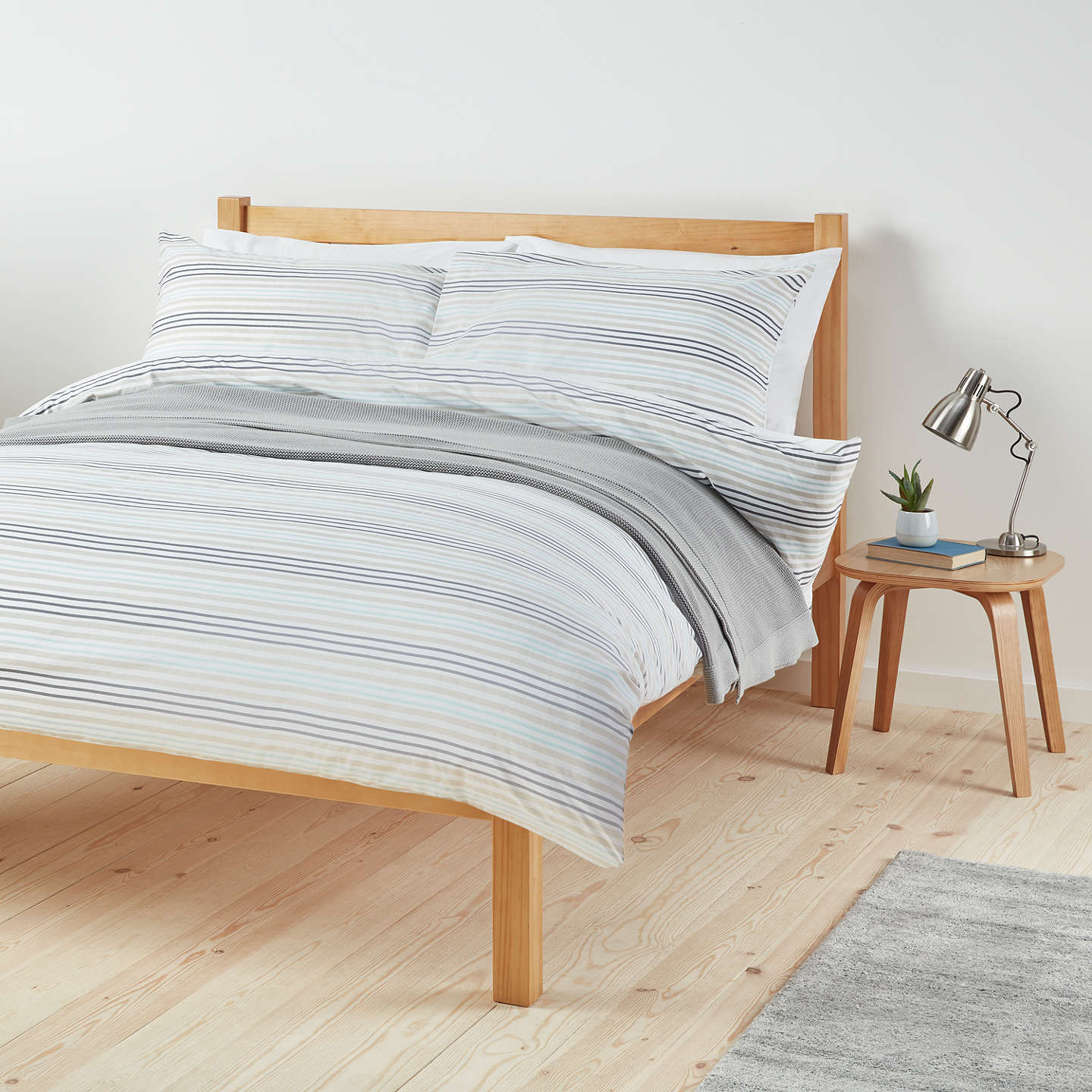 John Lewis The Basics Polycotton Stripes Duvet Cover And Pillowcase Set, Duck Egg/Steel by John Lewis