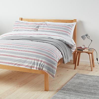 John Lewis The Basics Polycotton Stripes Duvet Cover and Pillowcase Set