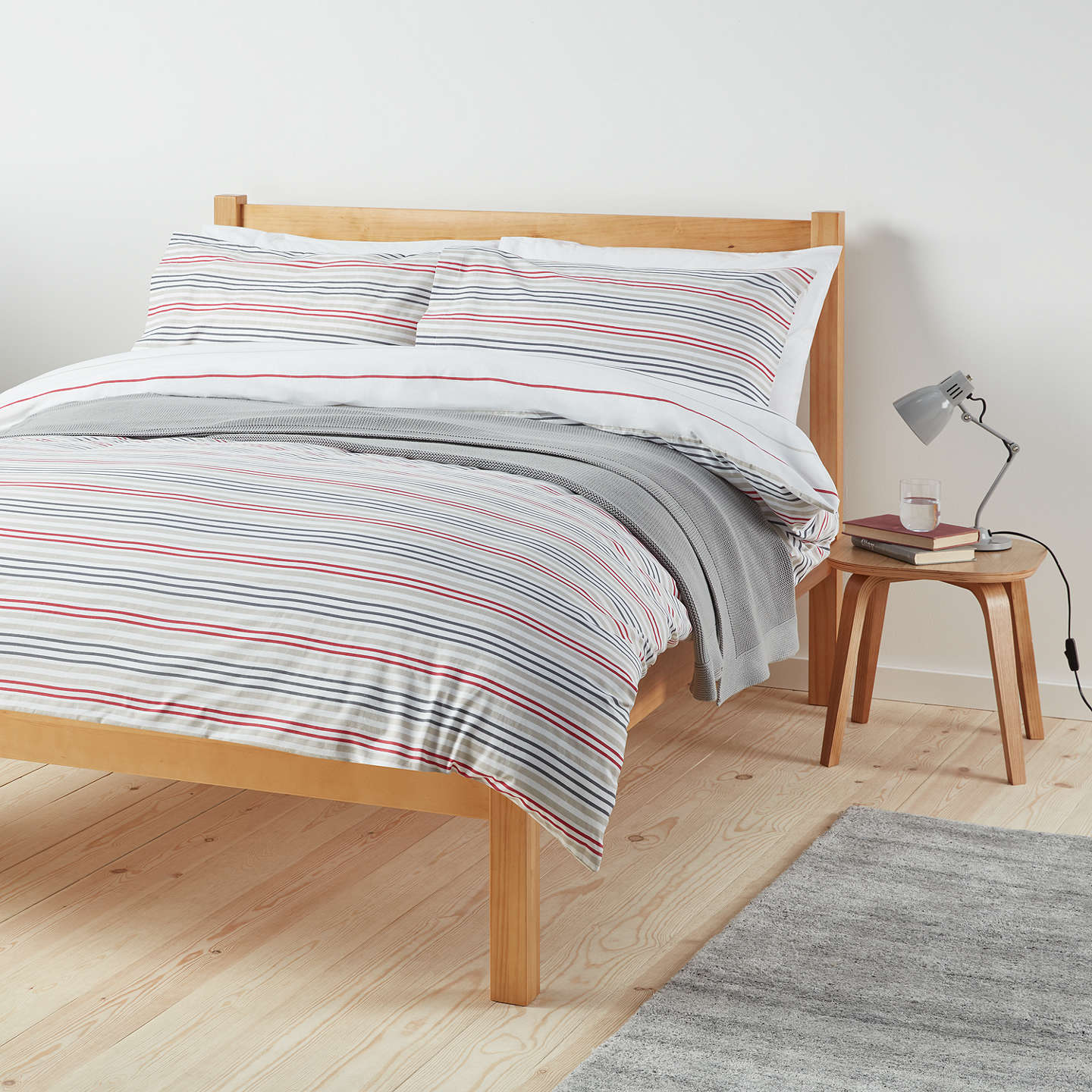 John Lewis The Basics Polycotton Stripes Duvet Cover And Pillowcase Set, Red/Natural by John Lewis