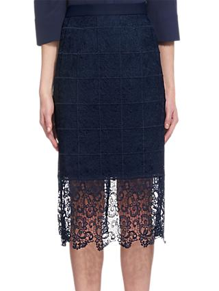 Whistles Alisa Lace Skirt, Navy