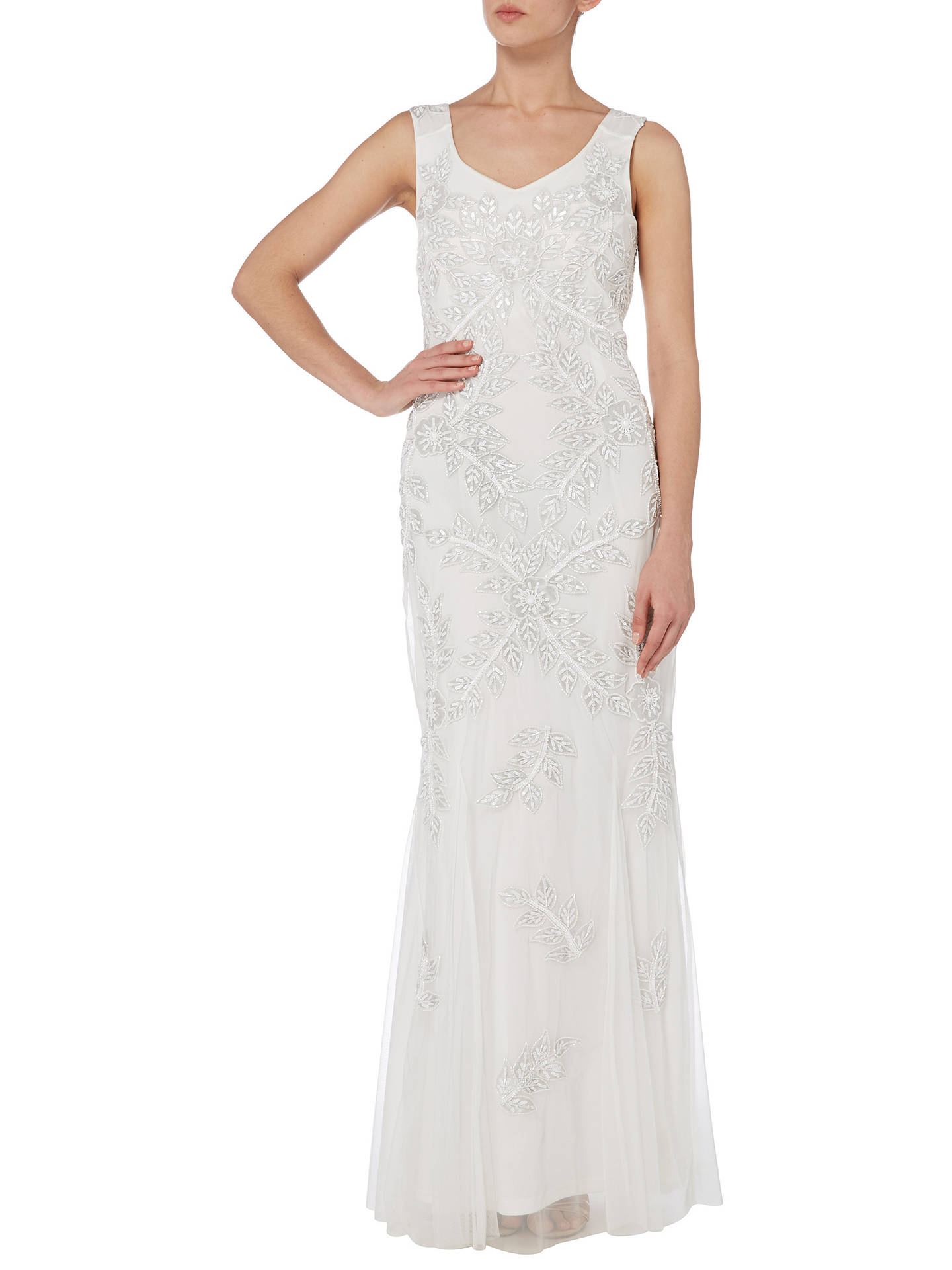 Buy Raishma Floral Embellished Gown, White, 8 Online at johnlewis.com