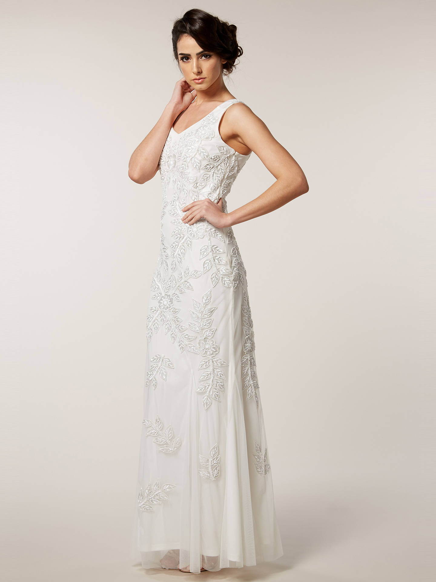 BuyRaishma Floral Embellished Gown, White, 8 Online at johnlewis.com