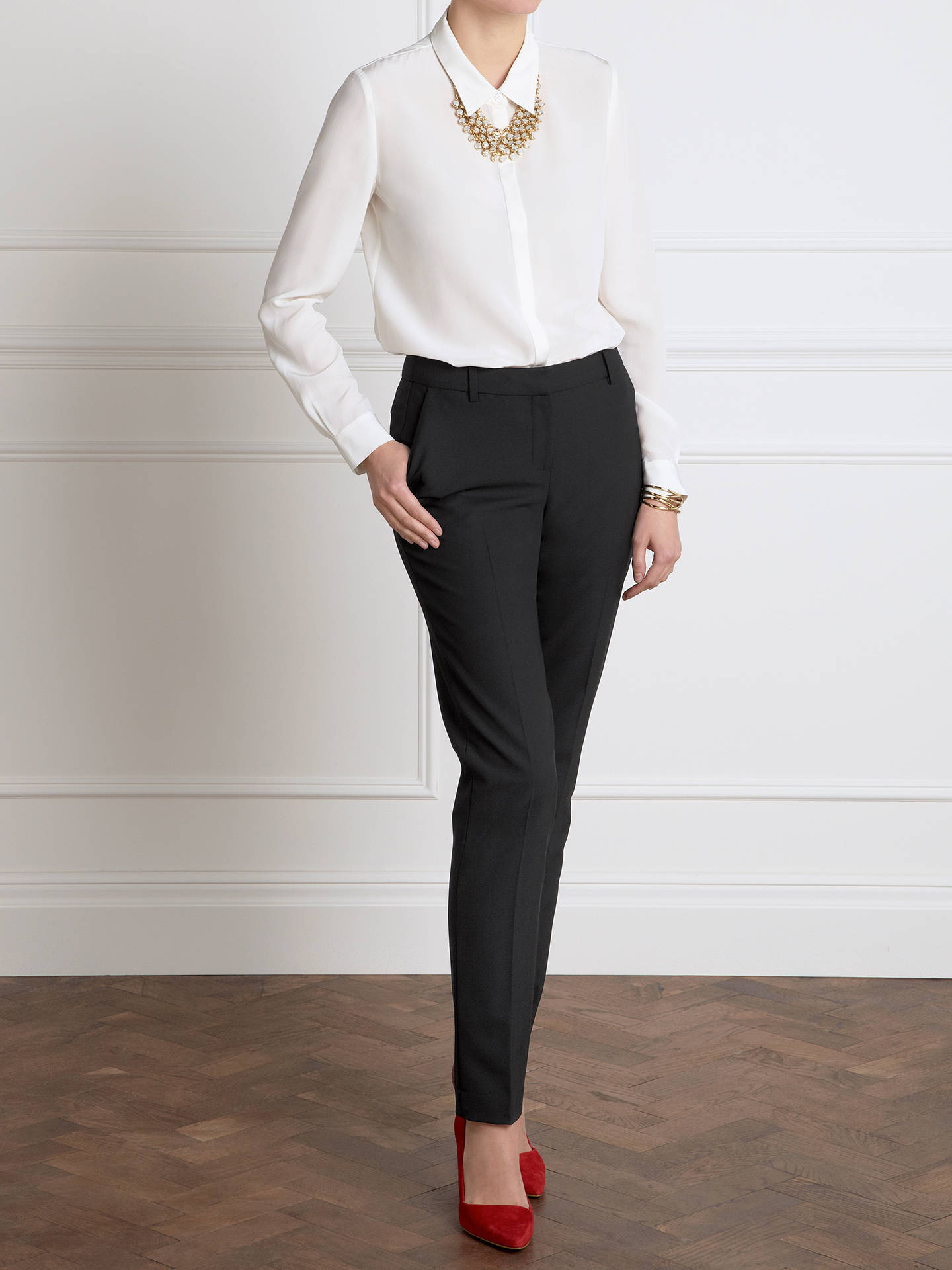 BuyPure Collection Lana Slim Leg Trousers, Black, 8S Online at johnlewis.com