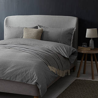 Croft Collection Euan Stripe Brushed Cotton Bedding Grey