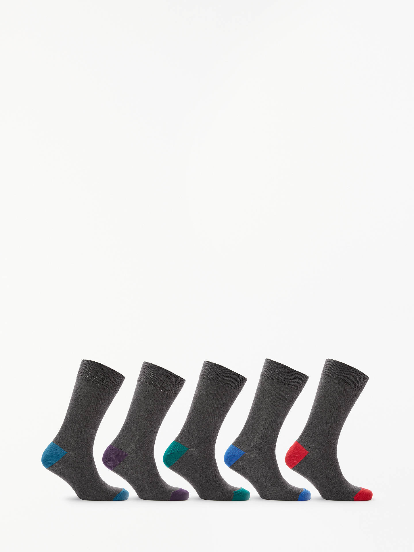 Buy John Lewis & Partners Fashion Heel and Toe Socks, Pack of 5, Multi, L Online at johnlewis.com