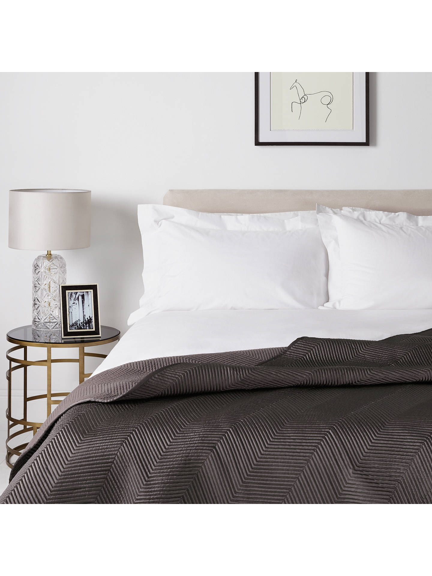 BuyJohn Lewis & Partners Boutique Hotel Linear Bedspread, L260 x W250cm, Steel Online at johnlewis.com