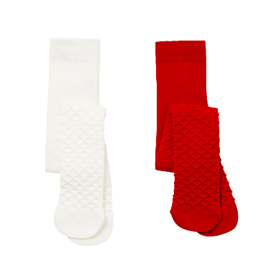 Product photo of John lewis baby waffle tights pack of 2 white red
