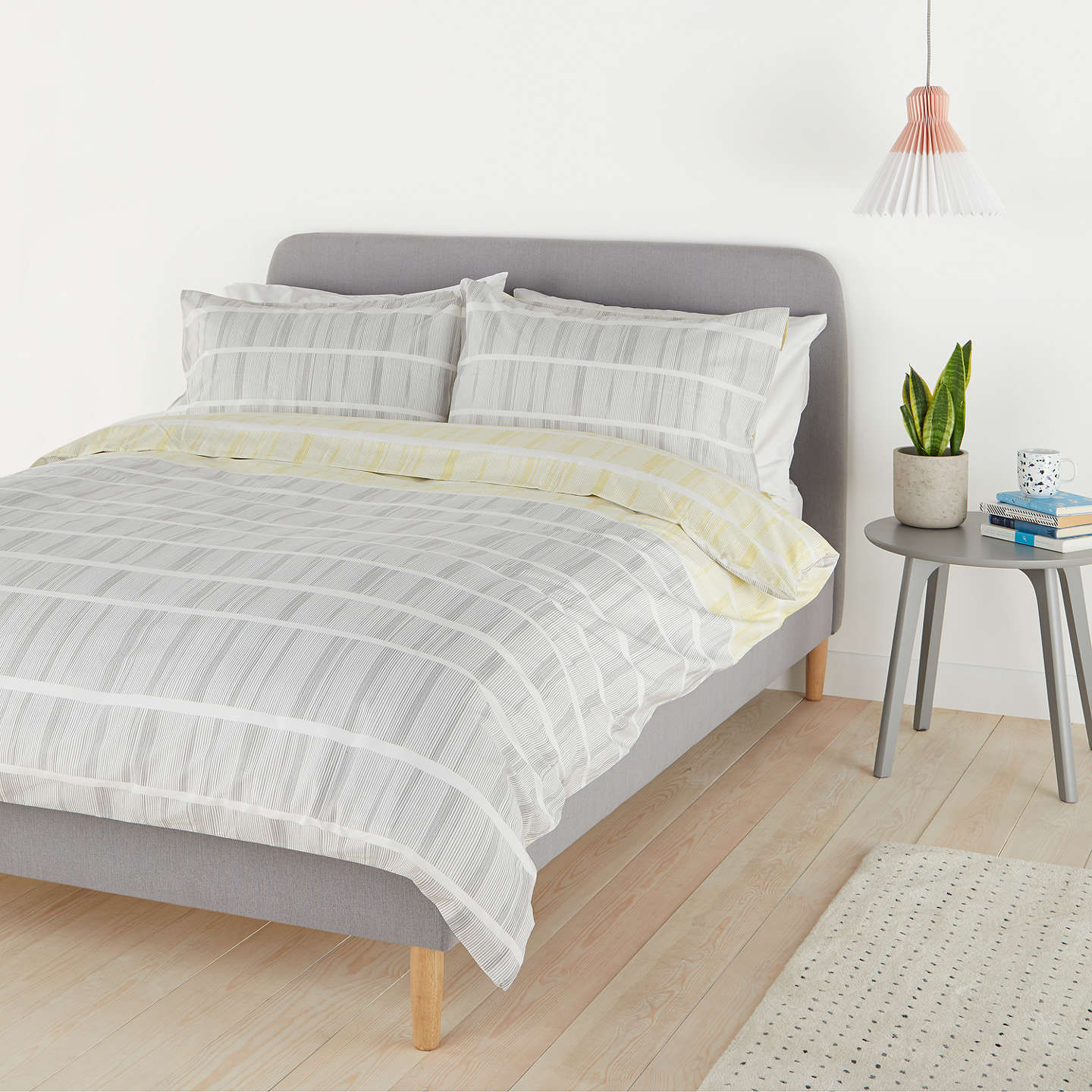 House By John Lewis Lines Duvet Cover And Pillowcase Set Single Grey Dandelion