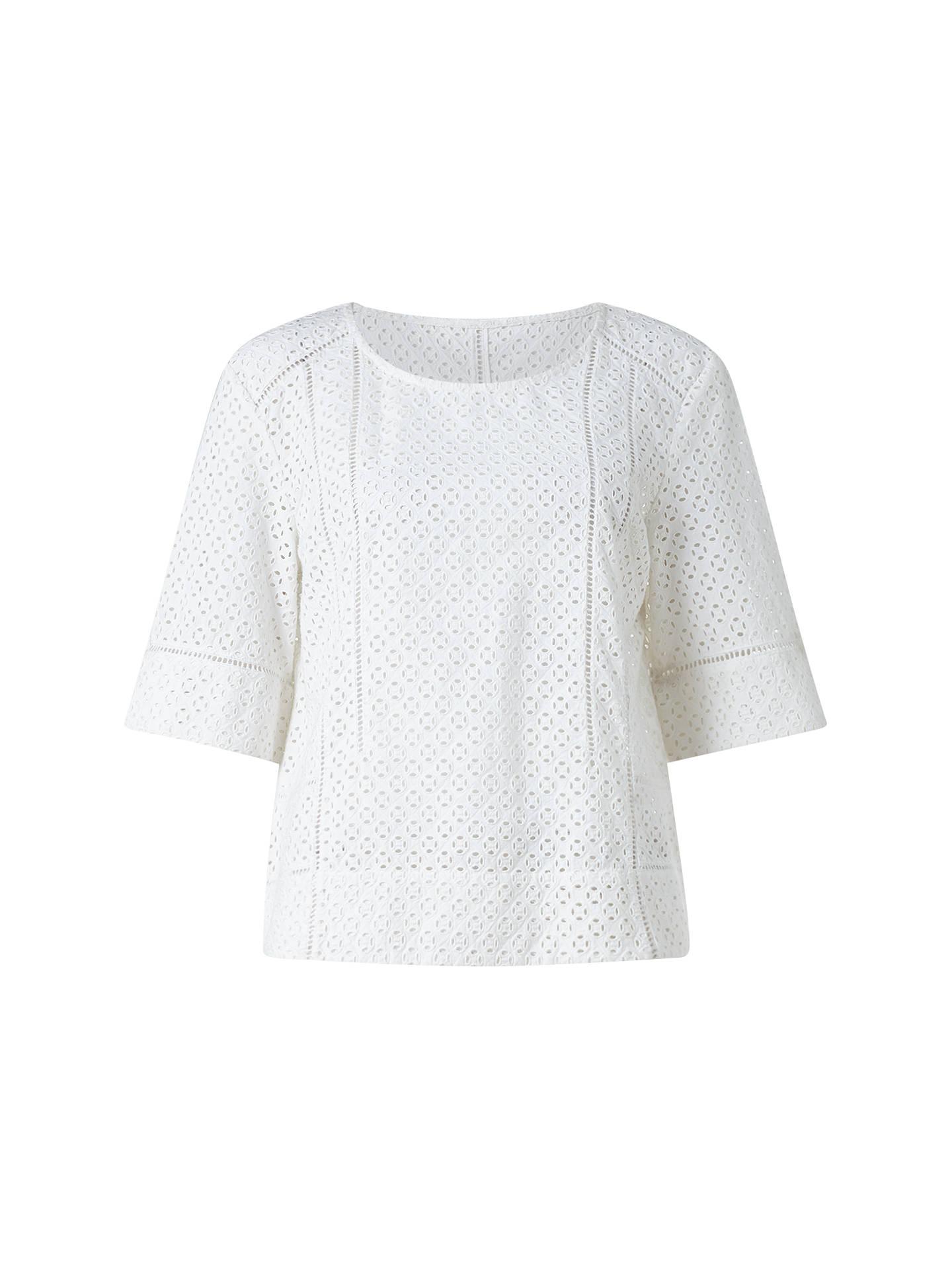 Jigsaw Broderie Cotton Shirt Womens New White
