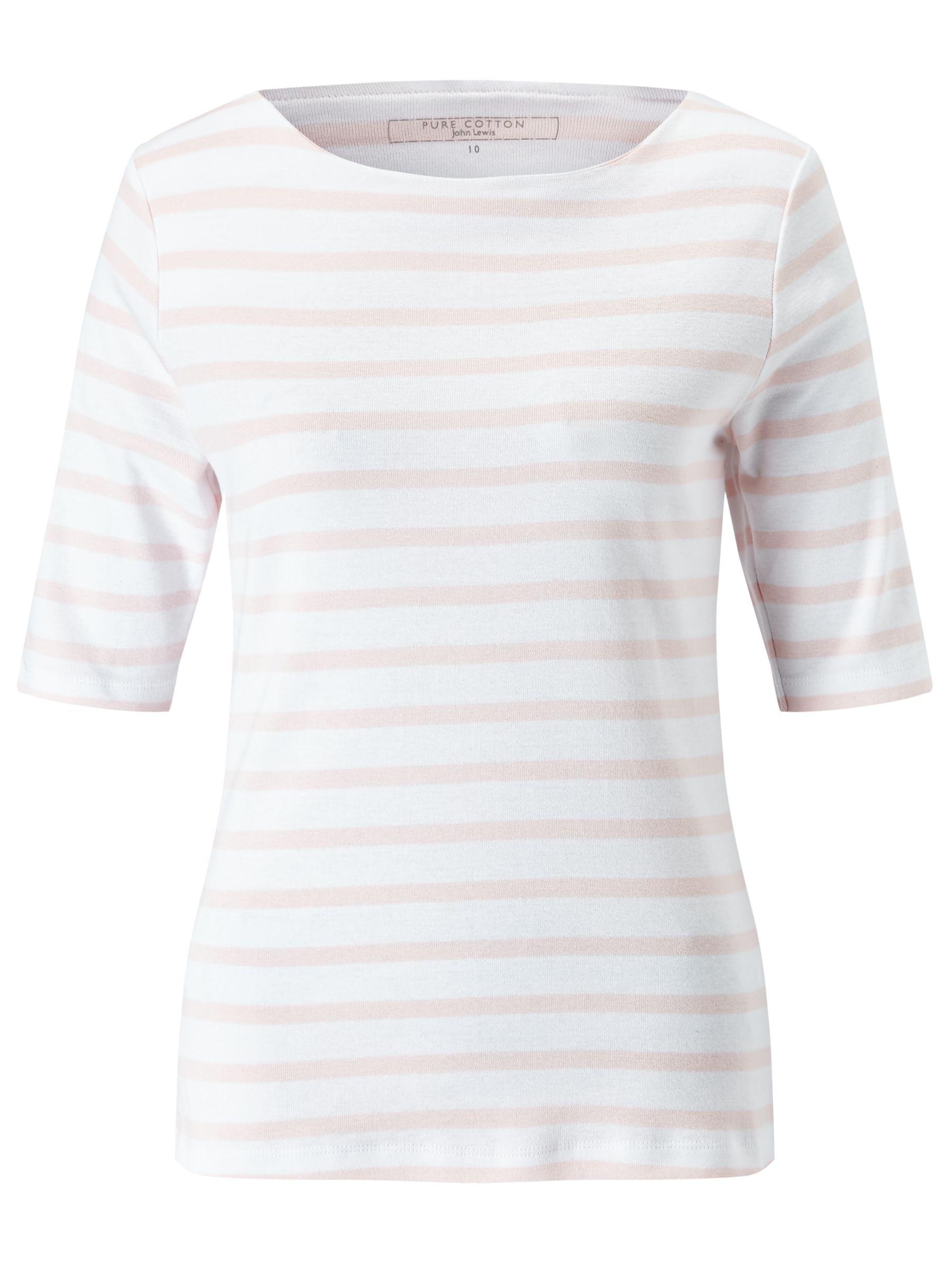 1eb2a8eb225b John Lewis Half-Sleeve Breton Stripe T-Shirt, White/ Pink at John Lewis &  Partners
