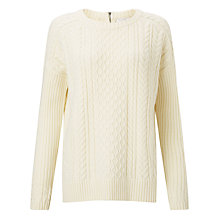 Buy Collection WEEKEND by John Lewis Cable Knit Zip Back Jumper Online at johnlewis.com