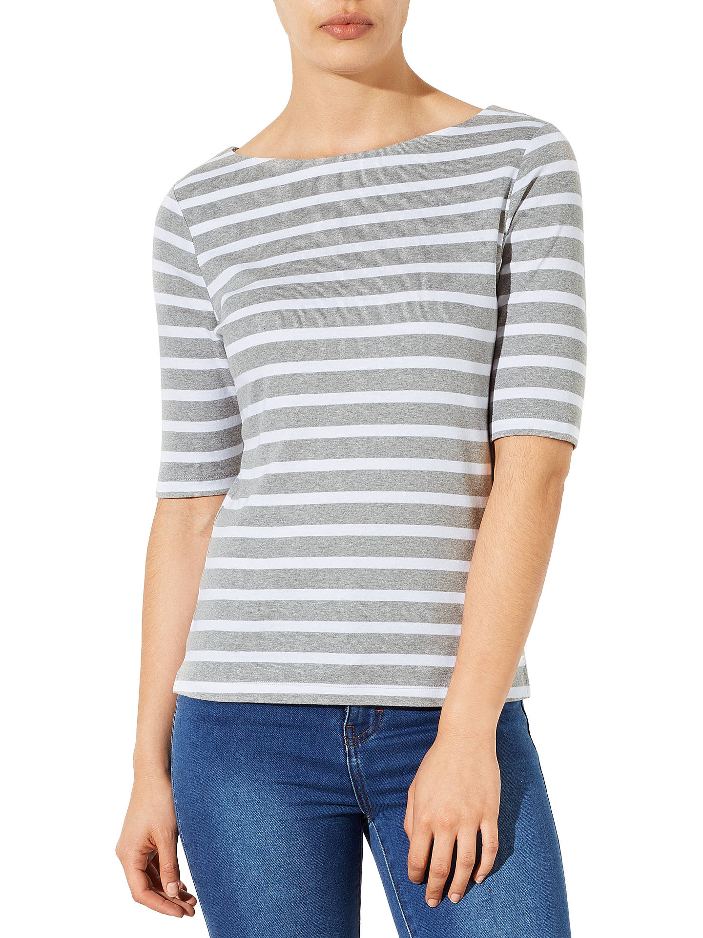 BuyJohn Lewis & Partners Half-Sleeve Breton Stripe Top, Grey/White, 8 Online at johnlewis.com