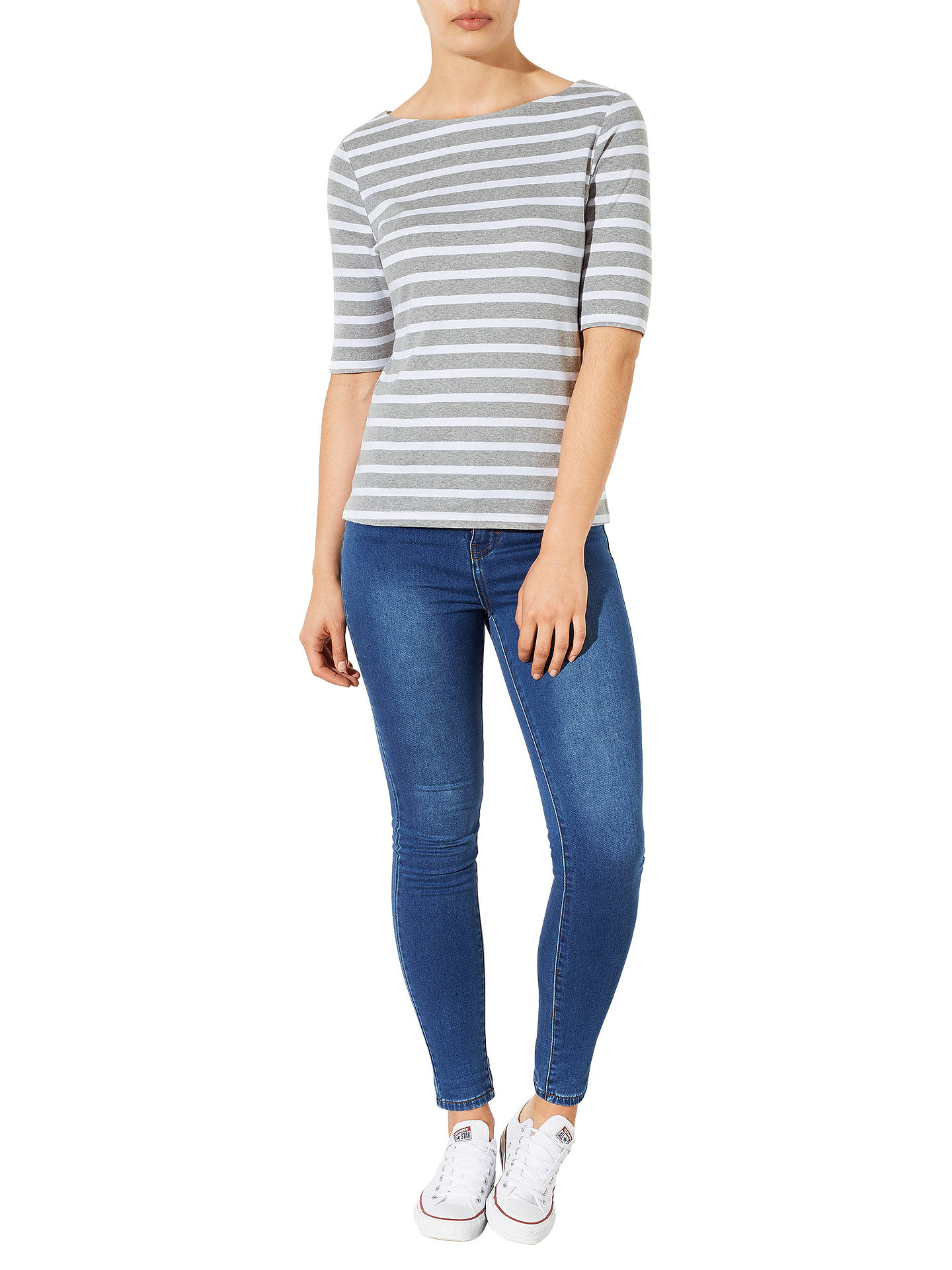 BuyJohn Lewis & Partners Half-Sleeve Breton Stripe Top, Grey/White, 10 Online at johnlewis.com