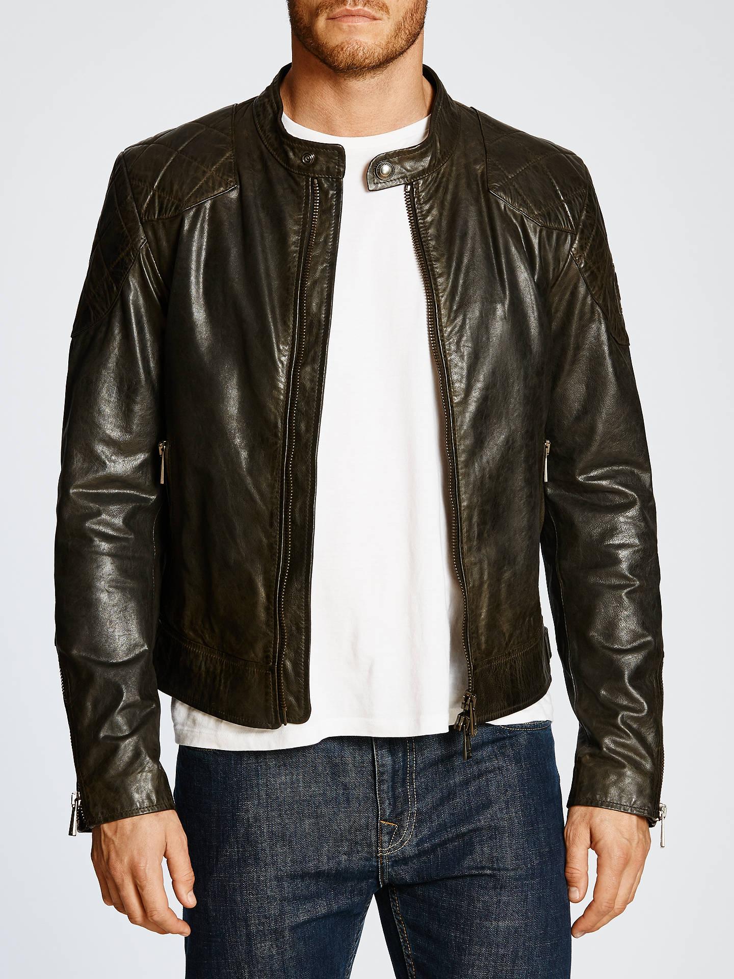 7ec88b0fa Belstaff Outlaw Leather Jacket, Black at John Lewis & Partners