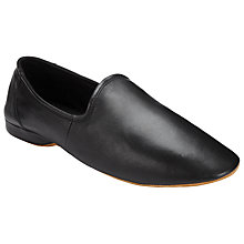 Buy John Lewis Seville III Leather Slippers, Black Online at johnlewis.com