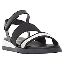 Buy Dune Lightening Triple Strap Sandals, Black Online at johnlewis.com