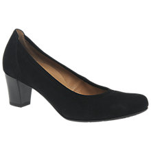 Buy Gabor Creative Wide Fit Block Heeled Court Shoes, Black Online at johnlewis.com
