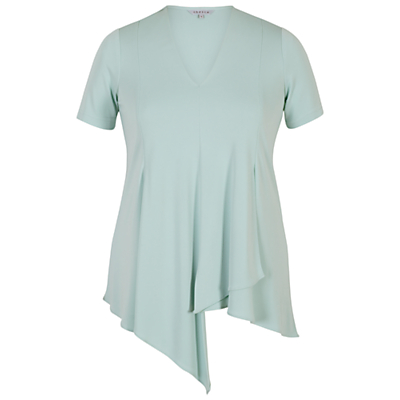 Chesca Asymmetric Layered Jersey Top, Aqua