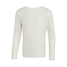 Buy John Lewis Girls' Sequin Jumper, Oatmeal Online at johnlewis.com
