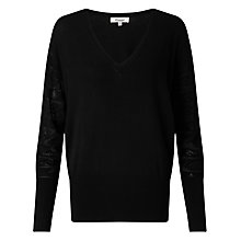Buy Somerset by Alice Temperley V-Neck Pointelle Jumper, Black Online at johnlewis.com