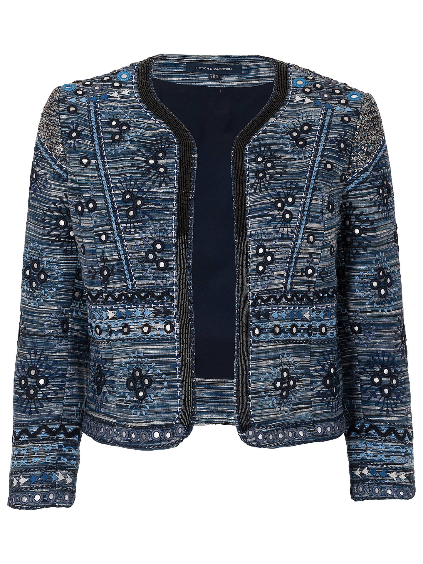 BuyFrench Connection Palm Valley Embellished Jacket, Blue, 6 Online at johnlewis.com