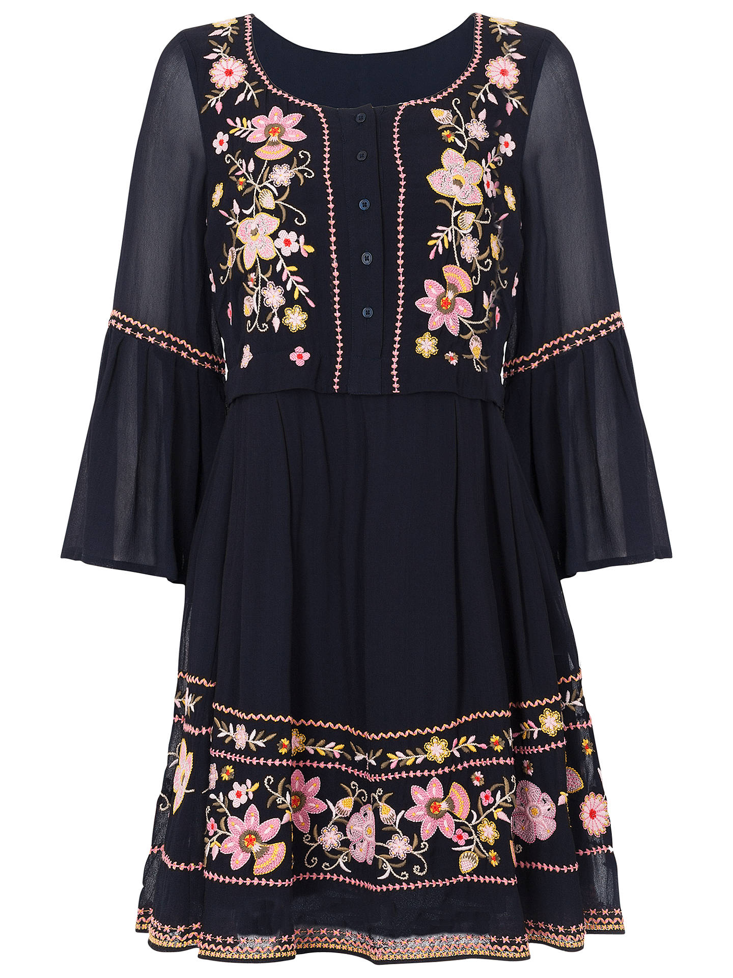 9768f85d730a Buy French Connection Sunshine Bloom Gypsy Dress, Utility Blue, 6 Online at  johnlewis.