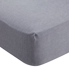 Buy John Lewis Soft & Relaxed Chambray Cotton Standard Fitted Sheet Online at johnlewis.com
