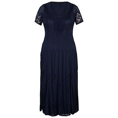 Chesca Border Lace Crush Pleat Dress, Navy