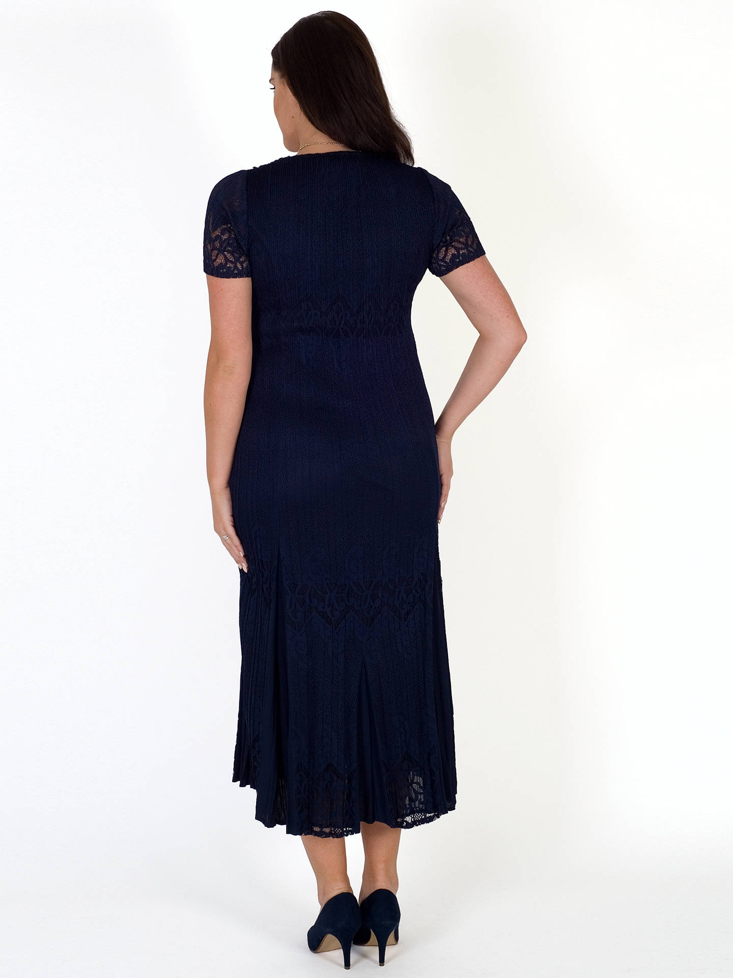 BuyChesca Border Lace Crush Pleat Dress, Navy, 12-14 Online at johnlewis.com