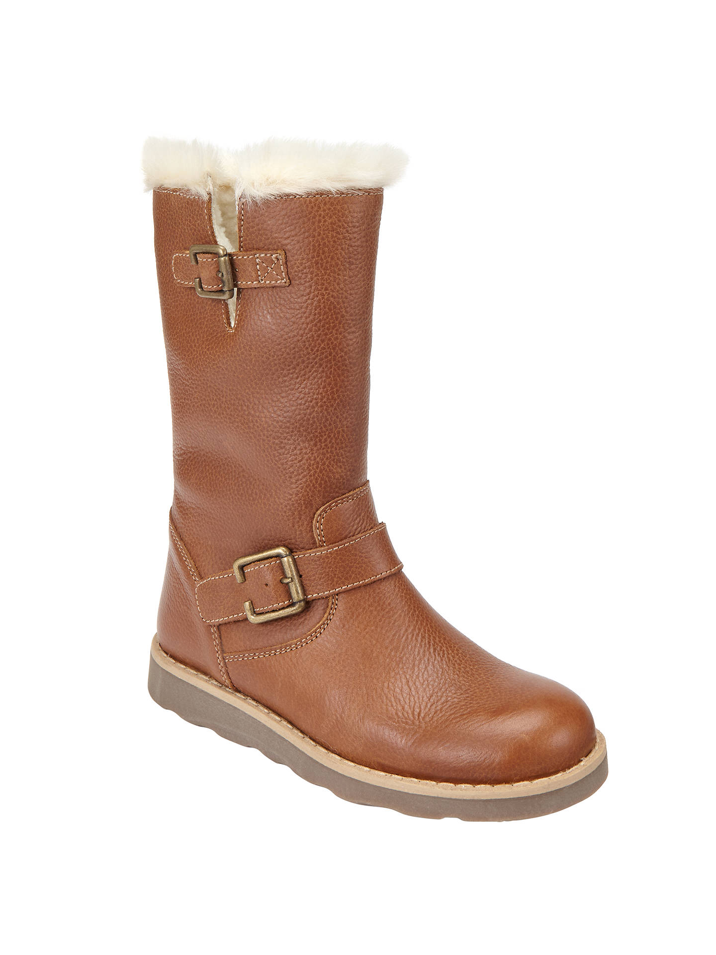 BuyJohn Lewis & Partners Children's Leia Shearling Boots, Tan Leather, 30 Online at johnlewis.com