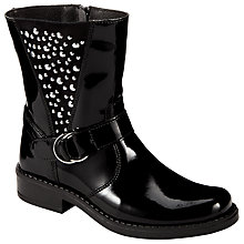 Buy John Lewis Children's Cara Pat Biker Boots, Black Patent Online at johnlewis.com