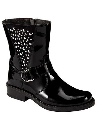 Buy John Lewis Children's Cara Pat Biker Boots, Black Patent, 30 Online at johnlewis.com