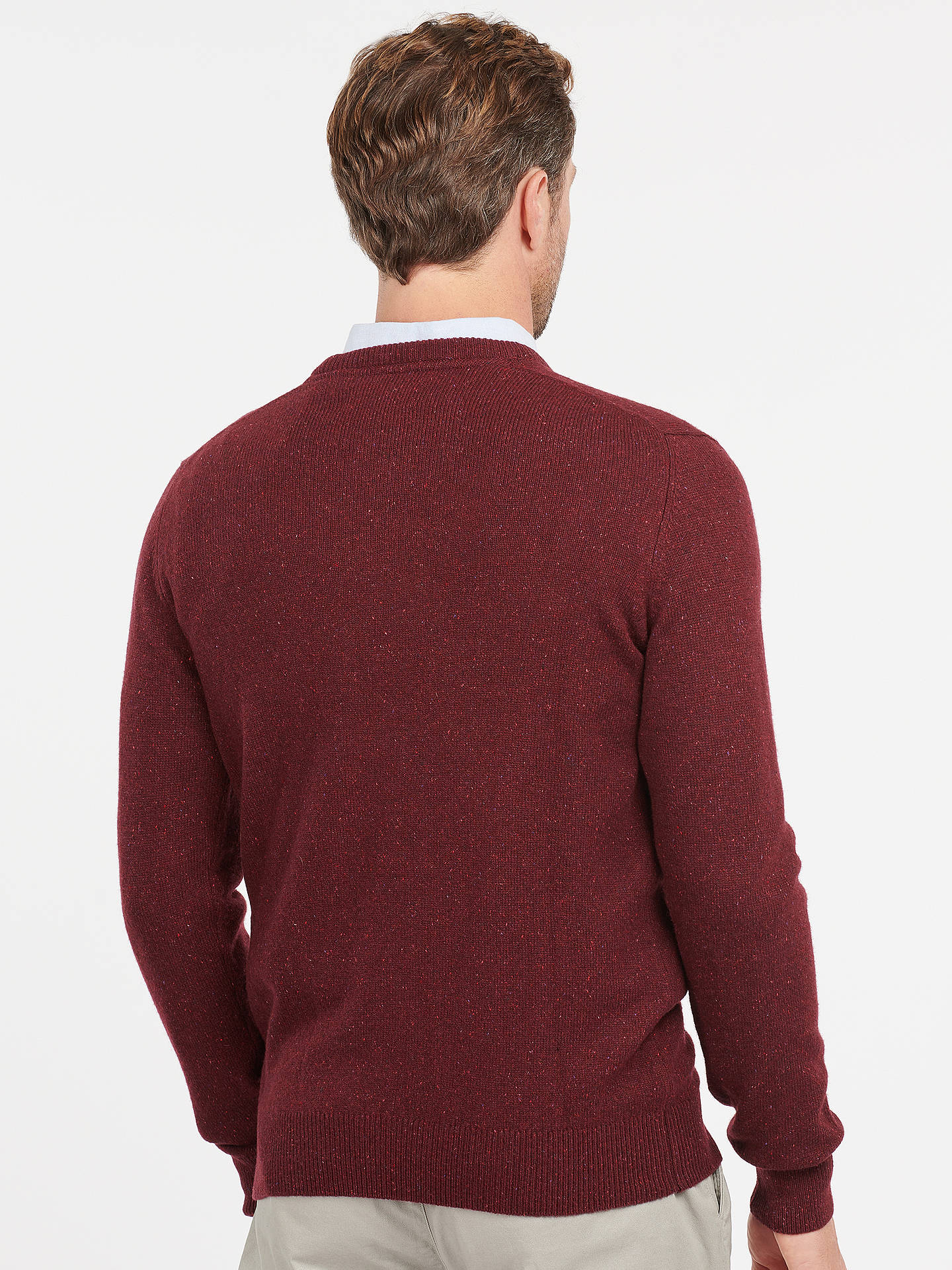 BuyBarbour Tisbury Lambswool Crew Neck Jumper, Ruby, S Online at johnlewis.com
