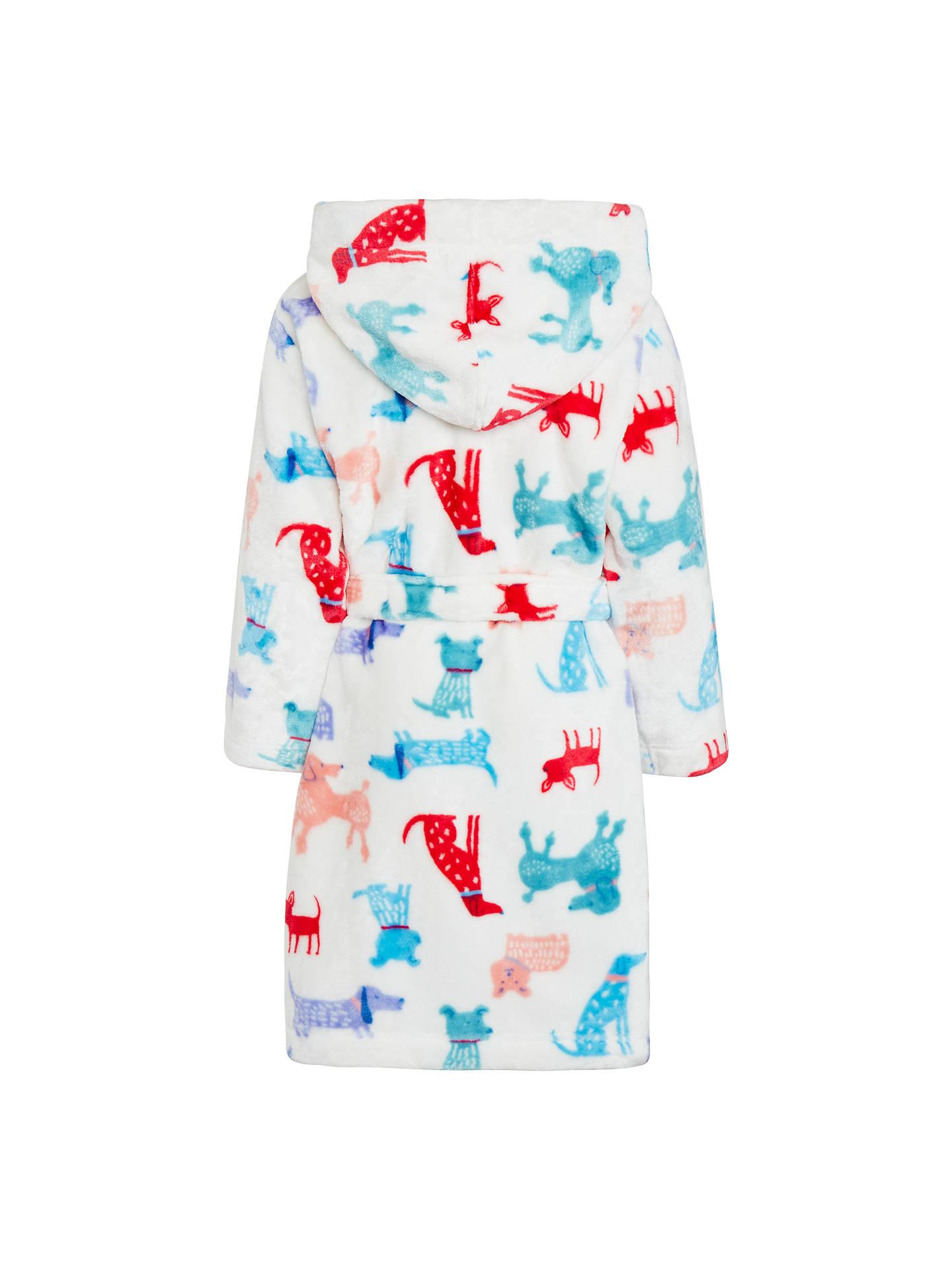 John Lewis Childrens Dog Print Dressing Gown Multi At John Lewis