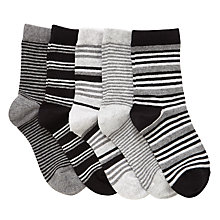Buy John Lewis Children's Stripe Socks, Pack of 5, Black Online at johnlewis.com